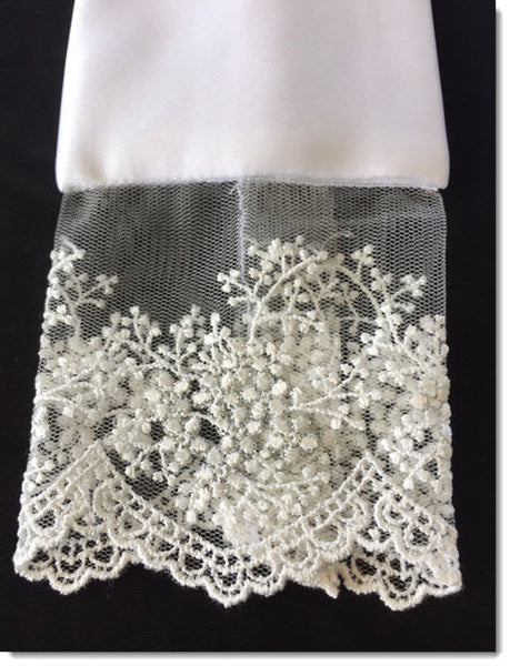 Satin Stole with White and Silver thread lace