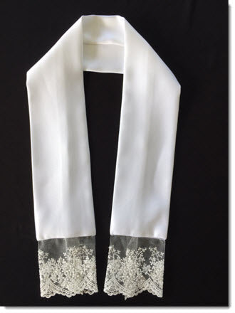Satin stole  Fine net lace with white and silver thread