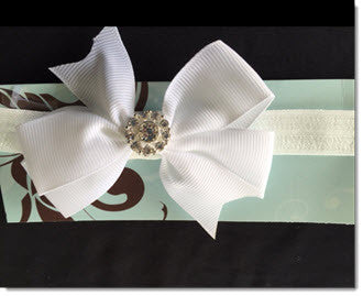 Christening Headband with grosgrain Bow and Diamante - Little Angels Couture - 1