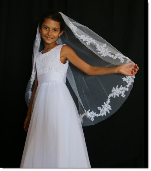 One-tier First Communion  Veil With Cut Edge