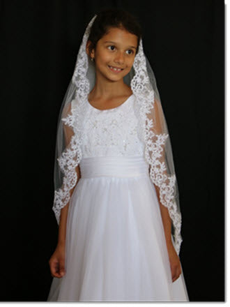 One-tier Lace Applique Edge First Communion Veil