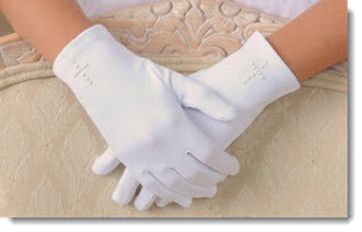 A81 Satin Glove with Pearl Cross