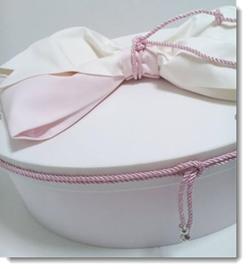Christening Box - Plain Pale Pink and White Set