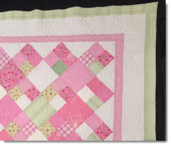 Patchwork cot quilt/play mat - Pretty Pink