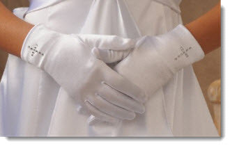 A 86 - Satin gloves with rhinestone cross