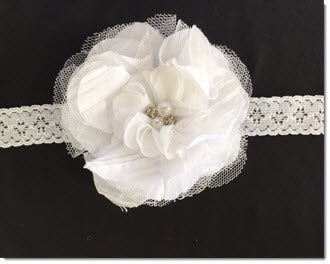 Ruffle Flower with Diamante and Pearls Christening Headband