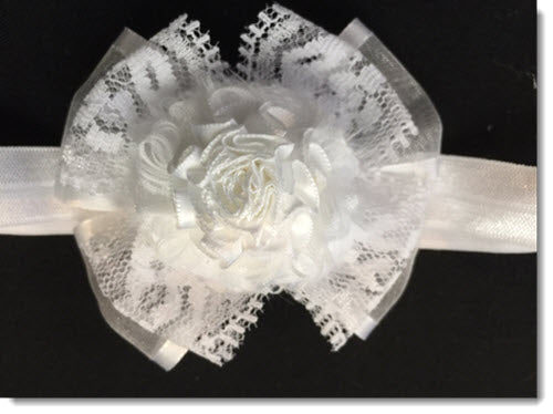 Organza ribbon and lace headband