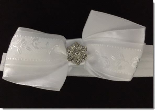 Christening Headband white satin bow with diamante flower