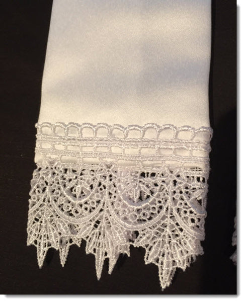 Baptism Stole with Guipure Lace Trim