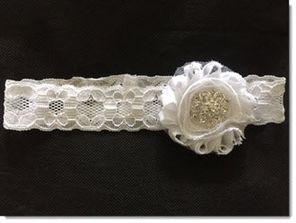 Christening Headband - Shabby flower with diamante