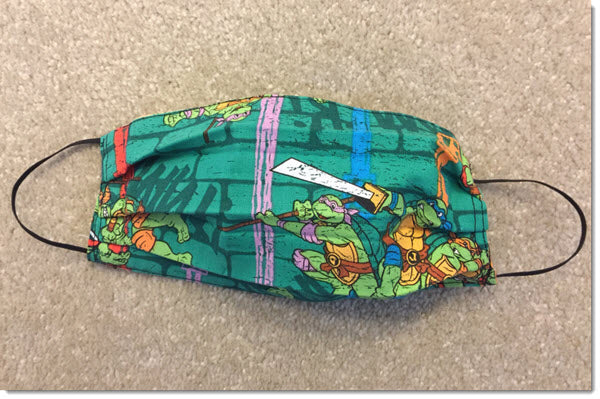 Kids Double Turtles Pleated Reversible  Face Mask
