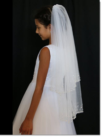 Two-tier Beaded Edge First Communion Veil With Beading/Sequin