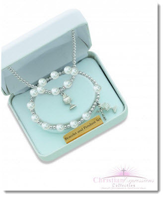 White Pearl Chalice Pendant Bracelet Gift Set - Little Angels Couture