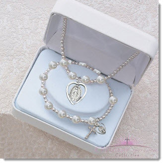 White Pearl Miraculous Pendant Bracelet Gift Set - Little Angels Couture