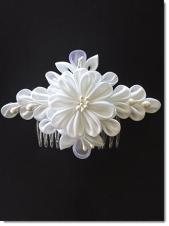 White Satin Kanzashi Flower 17