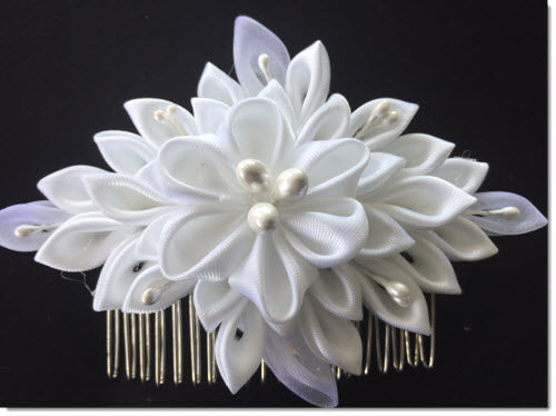 White Satin Kanzashi Flower 19
