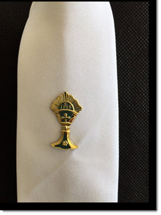 Boys white Tie with Gold Chalice - Little Angels Couture - 3