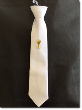 Boys white Tie with Gold Chalice - Little Angels Couture - 1