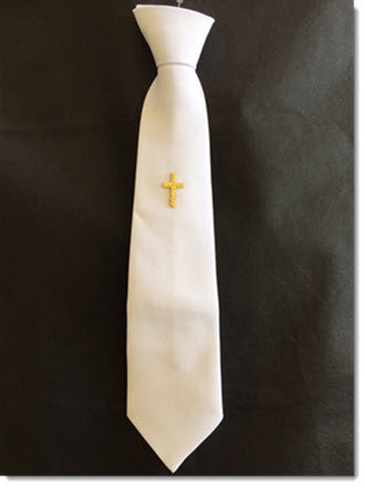 Boys white tie with Gold Cross - Little Angels Couture - 1