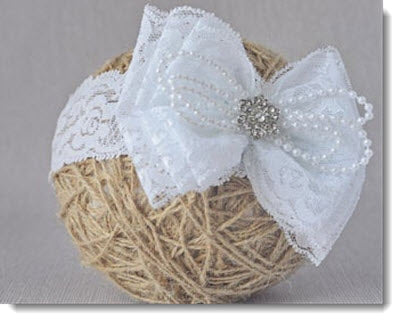 Christening headband - White Lace Bow  with pearls