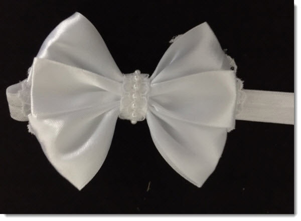 Christening headband - white satin bow with pearls and lace