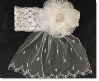 Christening Headband with Kanzashi organza flower with Diamante - wide lace band - with veil