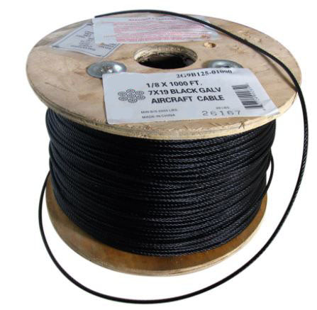 1/4 X 1000 FT, 7X19 Black Hot Dip Galvanized Steel Cable 2G9B250-01000