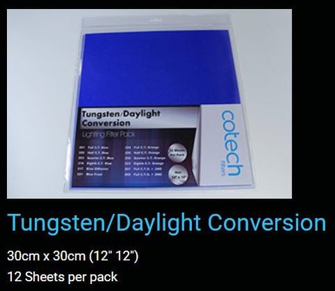 Tungsten Daylight Conversion COTECH FILTERS GEL Pack