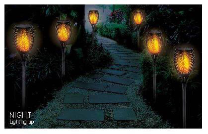Flame Solar Garden Stake Lights V8945