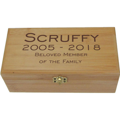 Bamboo Box Urn - Hinged Lid <br>(Optional Engraving)-Urns-Large-Personalized-Sorrento Valley Pet Cemetery