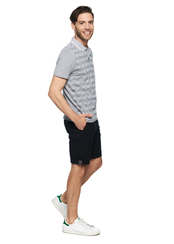 Ben Sherman 2tone Pique Checkerboard Polo (Tonic Ash/Grey) - ChicStyle
