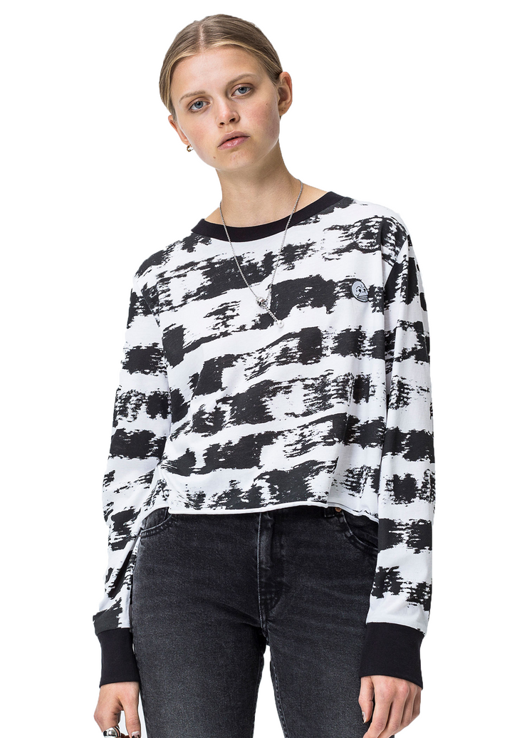 Cheap Monday Bed Long Sleeve Tee (Black/White) - ChicStyle