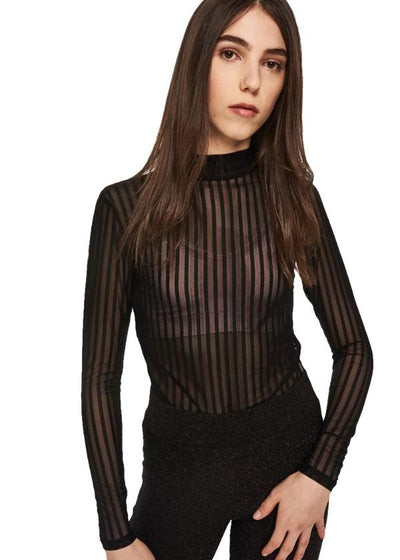 MINKPINK Between The Lines Mesh Top (Black) - ChicStyle