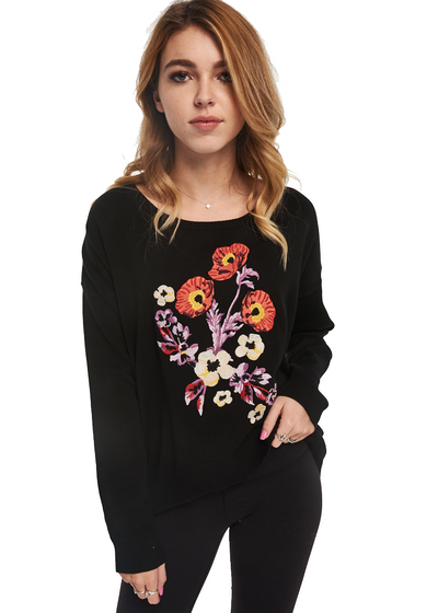MINKPINK Botanica Embroidered Knit Sweat (Black) - ChicStyle