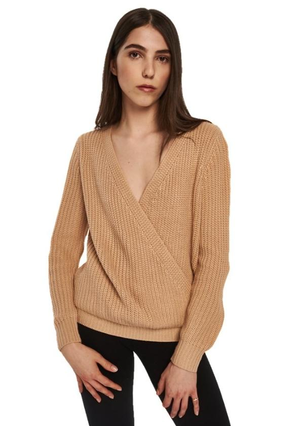 MINKPINK Carmen Wrap Front Sweater (Nude/Pink) - ChicStyle