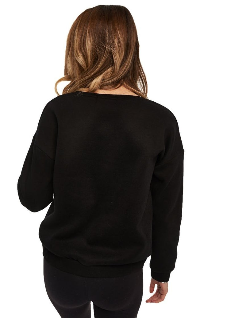MINKPINK Dreamer Embroided Sweater (Black) - ChicStyle