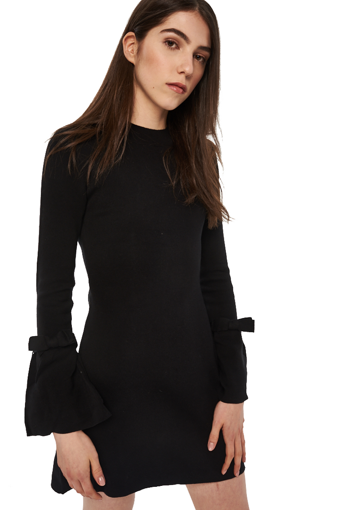 MINKPINK Evie Bell Sleeve Knit Dress (Black) - ChicStyle