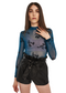 MINKPINK Falling Blooms Mesh Bodysuit (Teal) - ChicStyle