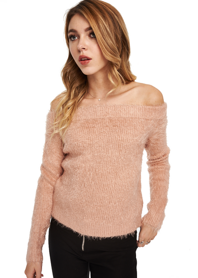 MINKPINK Florentine Off Shoulder Sweater (Pink) - ChicStyle