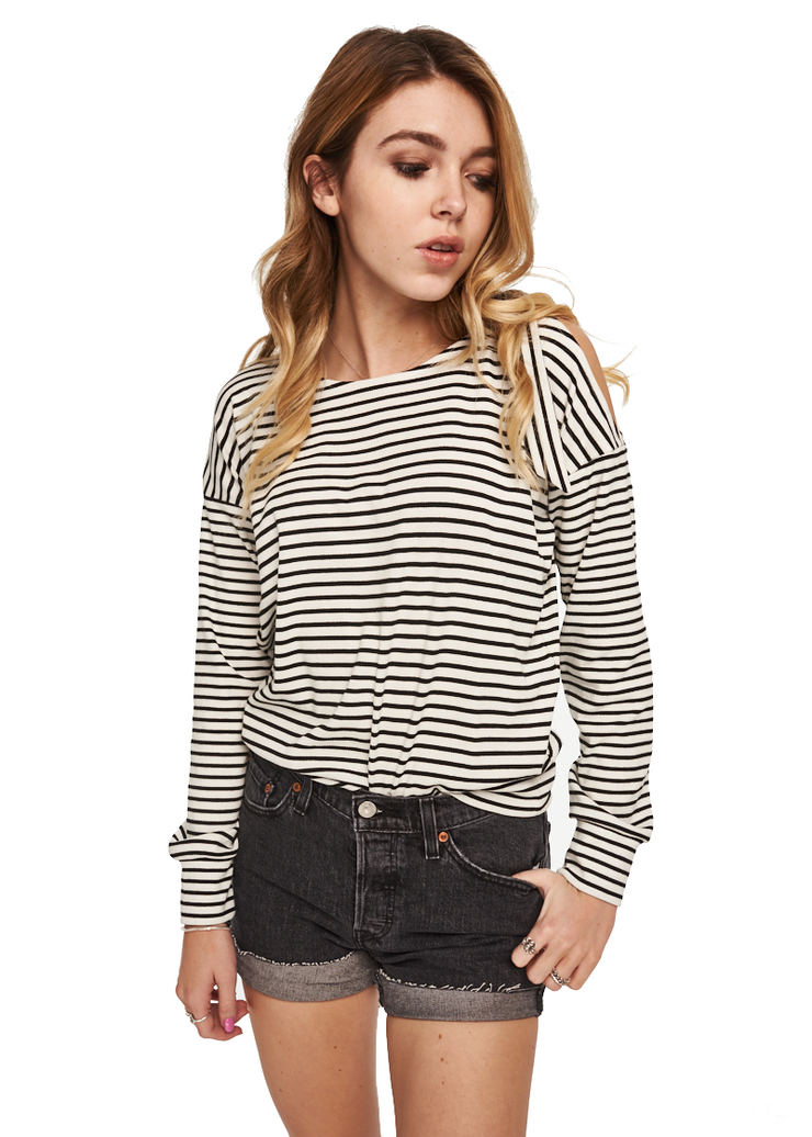 MINKPINK Full Moon Tie Shoulder Sweater (Off White/Black) - ChicStyle