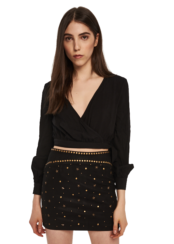 MINKPINK Marie Wrap Blouse (Black) - ChicStyle