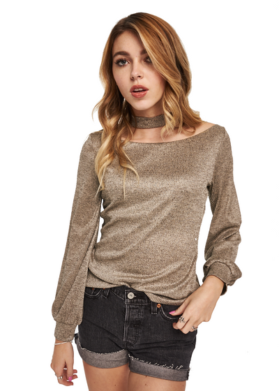 MINKPINK Metallic Rib Top (Champagne) - ChicStyle