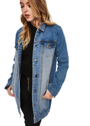 MINKPINK Mina Tunic Denim Jacket (Mid Blue) - ChicStyle