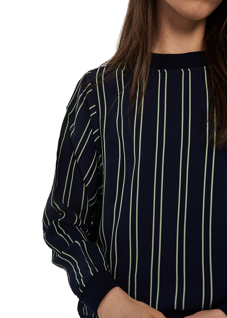 Just Female Pandora Blouse (Green Ash Stripe) - ChicStyle