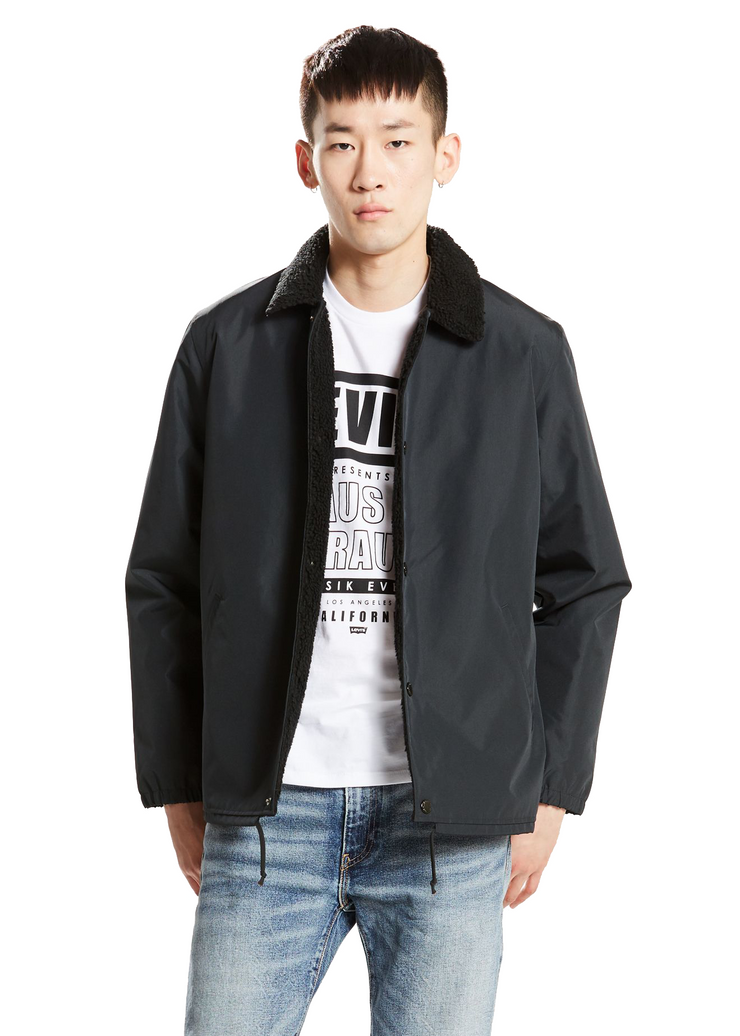 Levi's Sherpa Coach's Jacket (Black) - ChicStyle