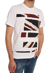 Ben Sherman Union Jack Stripe Print Tee (White) - ChicStyle