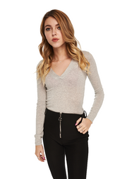 MINKPINK V-Neck Knit Bodysuit (Light Grey Marle) - ChicStyle