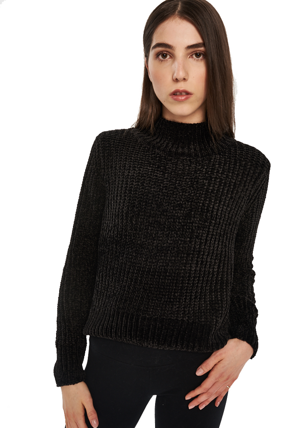 Just Female Velvet Knit (Black) - ChicStyle