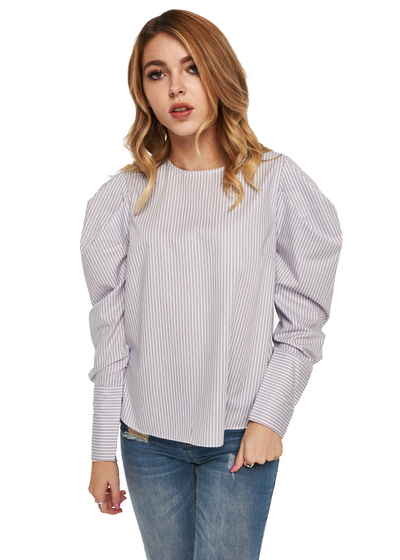 Just Female Verti Blouse (Blue Stripe) - ChicStyle