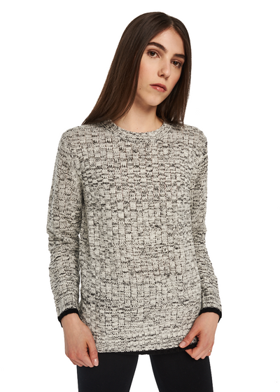 MINKPINK Waffle Knit Jumper (White/Black) - ChicStyle